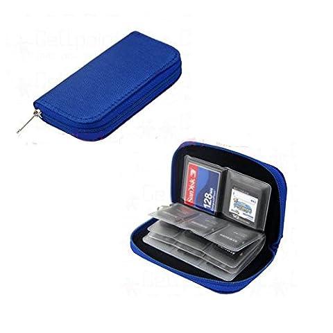 Carte mémoire de stockage étui protecteur Wallet. 22 Slots. Bleu