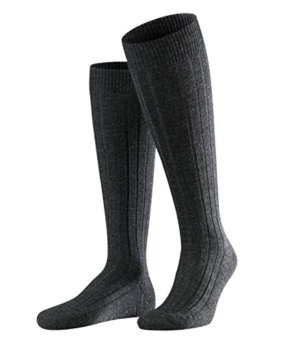FALKE Herren Kniestrümpfe Teppich im Schuh - Merinowollmischung, 1 Paar, Grau (Anthracite Melange 3080), Größe: 39-40 -