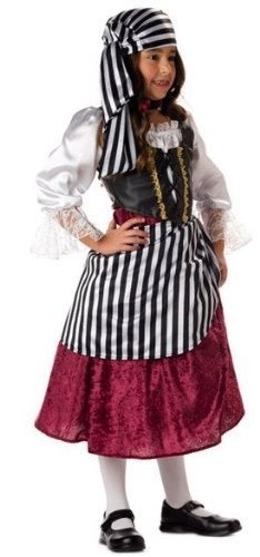 , LLC Big Girls' Pirate Mid-Length Dress Set, Black/Red, 8 by InCharacter ()