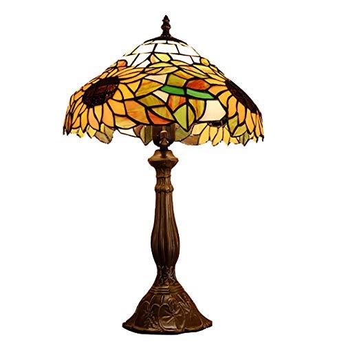 Light-GYH Tiffany Style Nachttischlampe, 12 Zoll Vintage Sunflower Design Glasmalerei Tischlampe, Antik Metall Basis Nachttisch Schreibtischlampe für Wohnzimmer, Cafe, E27