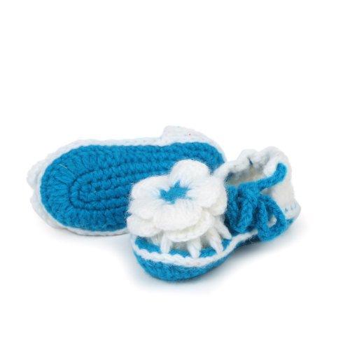 Yue Lian Baby Unisex Zweifarbige Schuhe mit Schnürsenkel Handgemachte Rutschfeste Strickschuhe Lauflernschuhe Blau