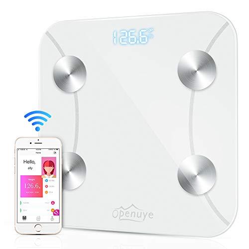 Openuye Körperfettwaage Bluetooth Personenwaage mit APP, Smart digitale Waage für Körperfett, BMI, Gewicht, Muskelmasse, Wasser, Knochengewicht, BMR,Fett Prozentsatz, Viszerales Fett usw