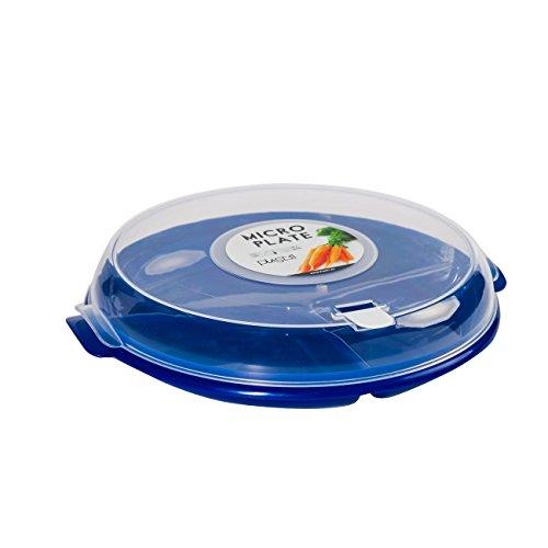 Mikrowellen-Teller Menüteller 3-fach aufgeteilt 24 cm mit Deckel- BPA frei mit Belüftung