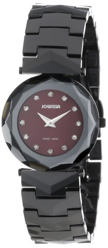 Jowissa Safira 99 Women's Quartz Watch with Red Dial Analogue Display and Black Ceramic Bracelet J1.020.M