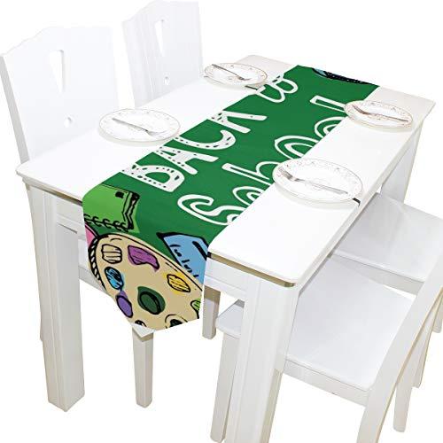 Yushg Willkommen zurück in die Schule Bildung Dresser Schal Tuch Abdeckung Tischläufer Tischdecke Tischset Küche Esszimmer Wohnzimmer Home Hochzeitsbankett Dekor Indoor 13x90 Zoll