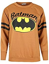Ladies Batman Prints Baggy Oversized Stripes Full Sleeves Round Neck Top Womens Sports Sweatshirt