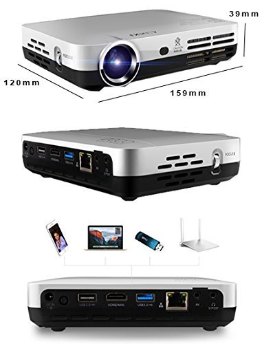 PLAY™ 6000 lumens Full HD 3840 x 2160 Quality Smart 3D, HD WIFI, Android, USB, HDMI School Office Home Theater Portable Projector - 1 Year Warranty With Customer Service