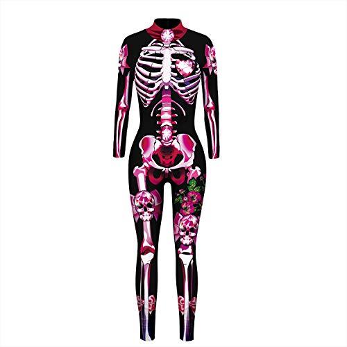 XUMI Yoga-Hosen, Rosa Skeleton Halloween Cosplay Jumpsuit Frauen Scary Kostüm Spooky Abendkleid Tag des Toten Mama Horror Karneval (Color : A, Size : (Best Tech Kostüm)
