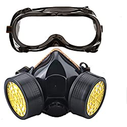 Ewolee Masque Anti-Poussiere Protection Respirateur Chimique Industriel, Masque Gaz Complète Contre Pollution, Masque Protection Respiratoire avec Deux Soupapes Lunettes Set, Noir