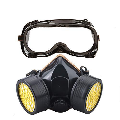 Ewolee Máscara respiratoria de Gas para Pintar, Mascarillas Antipolvo, Respirador para Protección Contra Polvo y Químico con con Gafas de Seguridad - Negro