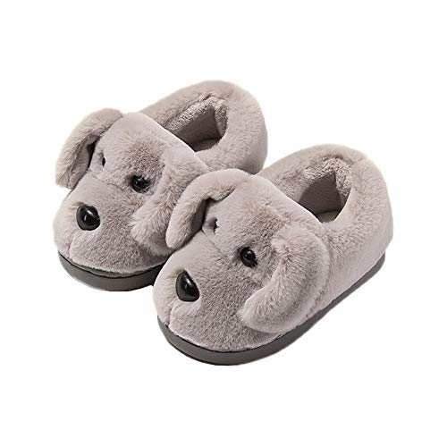 JadeRich Unisex Furry Lovely Dog Slippers Short Plush Upper Heel Covering Warm House Shoes