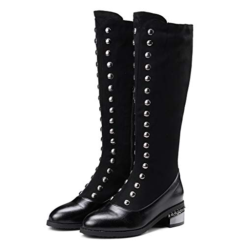 MOTOCO Ladies Over The Knee High Boots Women Cool Metal Decoration Socks Boots Fashion Thick High Boots