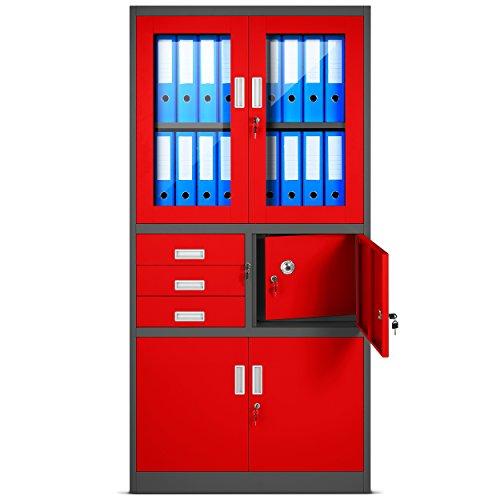 Aktenschrank C18S, Büroschrank mit Tresor Safe, Flügeltüren aus Glas 185 cm x 90 cm x 40 cm (anthrazit/rot)