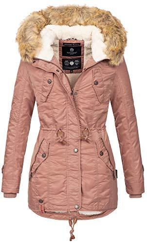 Navahoo warme Damen Winter Jacke Teddyfell Winterjacke Parka Mantel B399 (S, Terrakotta) Nylon-winter-parka
