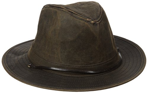 san-diego-hat-co-mens-3-inch-brim-sun-distressed-waxcloth-and-leather-chin-cord-brown-one-size