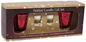 Yankee Candle Candle ULTIMATE Christmas Gift Set TWO Reindeer Votive Holders & TWO Sweet Apple Samplers Red Metallic Coloured Festive Decorative Glass Candle Containers for Fireplaces/Tables