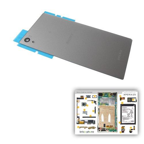 Vitre arrière Silver d'origine avec Logo pour Sony Xperia Z5 / Z5 Dual pour  Les modèles E6603 / E6653 / E6633 / E6683 avec Patron Papier d'aide