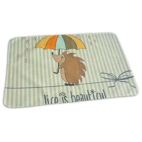 ad593bcfd3b7 Voxpkrs Baby Changing Pad Liners Hedgehog with Umbrella Print Diaper  Changing Pad Mats for Boys Girls,25.5