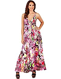 3117534730ed Vibrant Ladies 100% Cotton Tropical Strappy Maxi Beach Holiday Dress