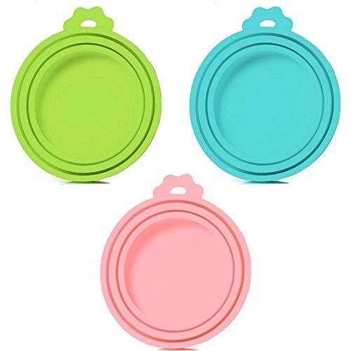 SLSON 3 Paquetes de Tapas universales de Silicona para latas de Comida para Perros y Gatos, 1 para 3 tamaños estándar, sin BPA y lavaplatos, Azul, Verde y Rosa