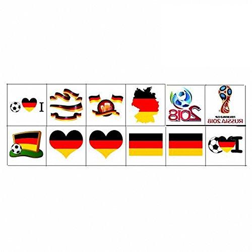 Nationalflagge Tattoos, Temporäre Tätowierungen der Weltmeisterschaft, Russland 2018 Aufkleber Flagge Aufkleber für Fußball Spiel Gesicht Körper Dekor 12 Blätter (Deutschland)