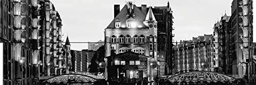 garderobe hamburg Artland Qualitätsmöbel I Garderobe mit Motiv Holz-Paneele mit 4 Haken 90 x 30 cm Städte Deutschland Hamburg Foto Schwarz Weiß D8OQ Teil der Alten Speicherstadt in Hamburg, Nachts erleuchtet