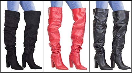 73d971e0da8 Flirty Wardrobe Womens Over The Knee High Heel Ladies Long Boots Pointy Toe Thigh  High Boot Uk - £19.99