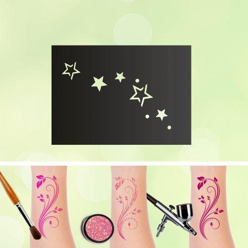 Tattoo Schablonen Sterne Selbstklebend Kinderschminken Airbrush Größe 1 - Stern-schablonen
