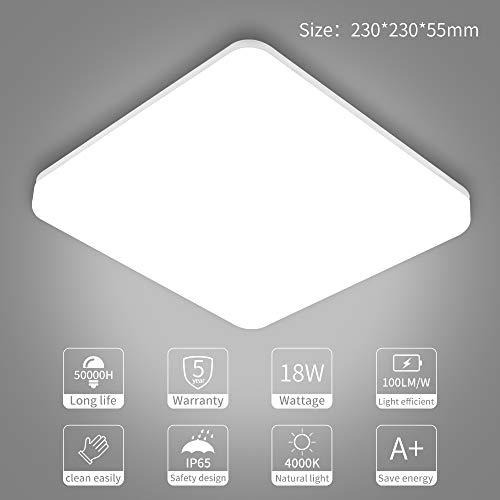SUNGNY Lighting® Deckenleuchte LED Schlafzimmer Deckenlampe IP65 Bad Lampe 18W 1500LM 4000K Neutralweiß Moderne 220V-240V für Wohnzimmer Badezimmer Balkon Flur Küche (Platz, 18W) -