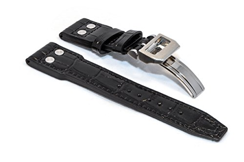 watchassassin-black-italian-leather-pilot-rivet-strap-with-deployment-clasp-22mm
