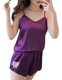 Exing - Pijama Falso para Mujer, Vestido de Noche Sexy sin Mangas, para Mujer