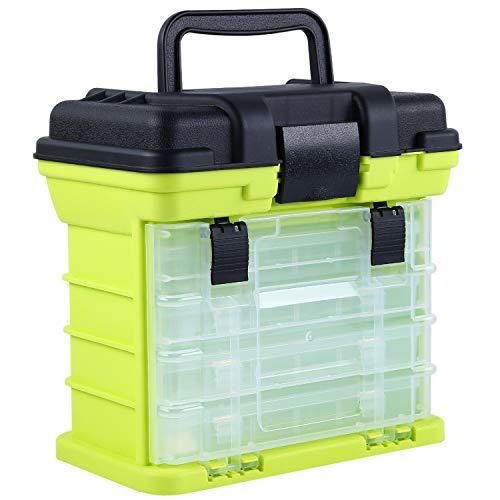 Sougayilang Angelgerät-Box Tragbare 4-Schichten-Angelbox Sea Boat Angelzubehör-Box mit Griff Utility-Box-Small
