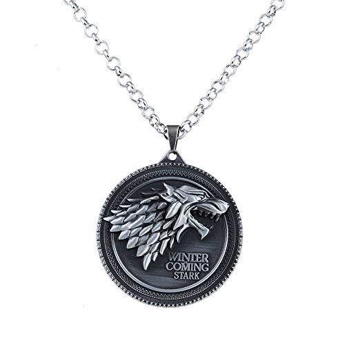 rch Spiel der Throne Lied von Eis und Feuer Jahrgang Stark Dire Wolf Anhänger Halskette-Antique Silber (nl005380-1) ()