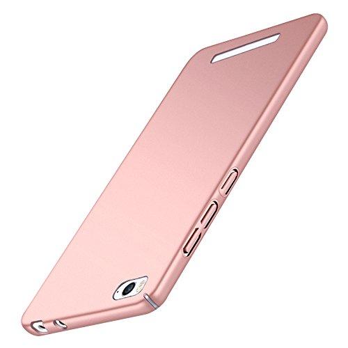 Tmusik Xiaomi Mi4c Mi 4C Hülle + Panzerglas Displayschutzfolie, [Ultra Dünn] [Leicht] Anti-Kratzer Schutzhülle, Anti-Fingerabdruck Hart Plastisch Rückdeckel Cover Case - Rosa