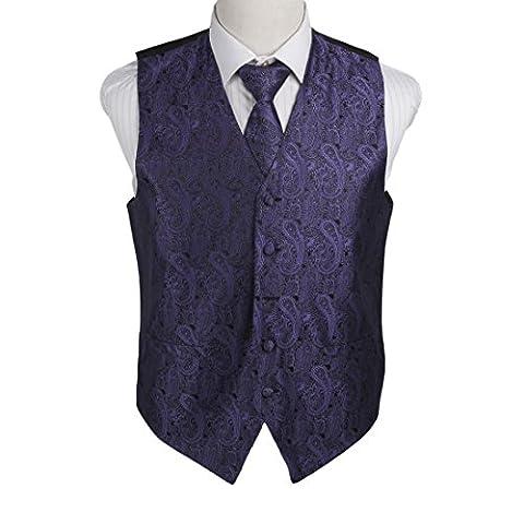 EGD1B02B-S Mittel Lila Paisley Microfiber Herren Tuxedo Weste Neck Tie Set Classic F¨¹r Mann Von Epoint