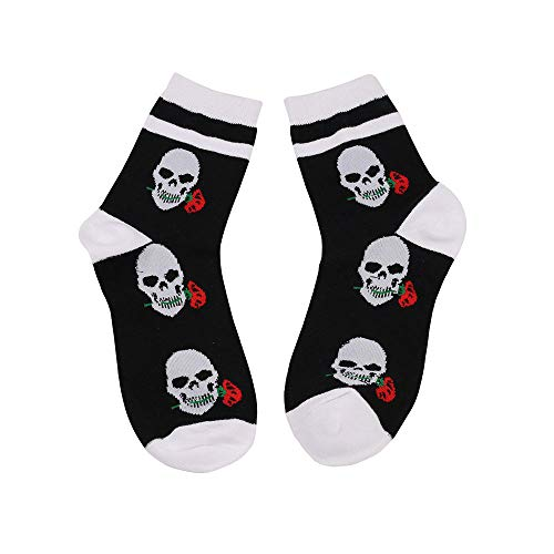 (WYEKJ Männer Und Frauen In Der Tube Socken Persönlichkeit, Rose Socken Halloween Männer Und Frauen In Der Tube Socken Illustration Black Code)