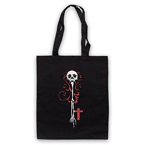 Skeleton Key Gothic Illustration Umhangetaschen Schwarz