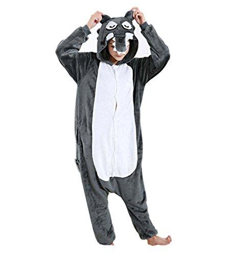 WRH Flanell Grey Wolf zeigen Kostüm einteilige Schlafanzüge Cartoon Tierfreunde Handwerksleistungen , m (Machen Sie Es Sich Paare Halloween Kostüme)