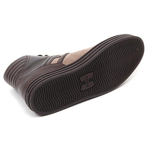 B7174 sneaker uomo HOGAN REBEL 141 scarpa basket marrone shoe man Marrone