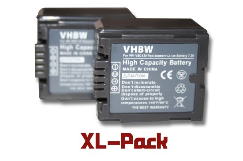 Gs500 Camcorder (2 x vhbw Akku Set 1000mAh für Camcorder Kamera Panasonic H90 H250 H280 VDR-D50 D160 D220 D310 NV-GS320 GS330 GS500 GS60 GS80 GS90)