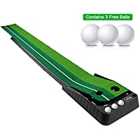 Asgens Golf Putting Trainer,Indoor/Outdoor Golf Auto Return Putting Trainer Mat