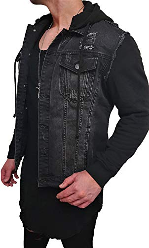 Kapuzen Jeansjacke Denim Jeans Jacke Kapuzenjacke Hoodie Herren Grau Black Biker Motorrad Designer Blouson Sweat Men Leather Flieger Wende...
