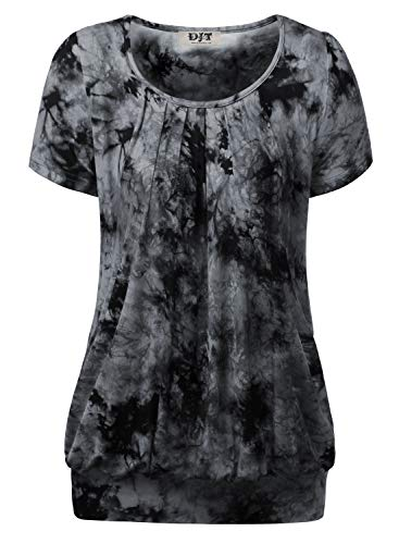 DJT Damen Casual Falten Kurzarm T-Shirt Kurzarmshirt Rundhals Stretch Tunika Tie Dye Schwarz XL - Tie-dye-tunika