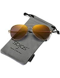 SOJOS Mode Flieger Metallrahmen Verspiegelt Linse Unisex Piloten Sonnenbrille mit Frühlings Scharnieren SJ1030