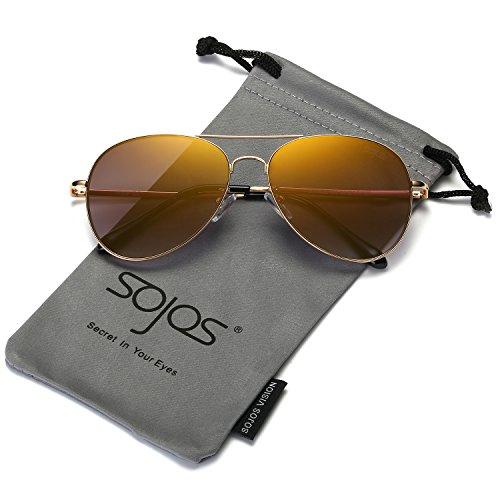 SOJOS Mode Flieger Metallrahmen Verspiegelt Linse Unisex Piloten Sonnenbrille mit Frühlings Scharnieren SJ1030 mit Gold Rahmen/Gold Linse