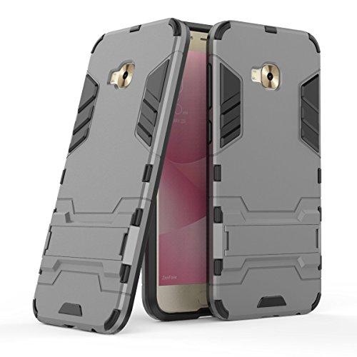 Hülle für Asus ZenFone 4 Selfie Pro ZD552KL (5,5 Zoll) 2 in 1 Hybrid Dual Layer Shell Armor Schutzhülle mit Standfunktion Case (Grau)
