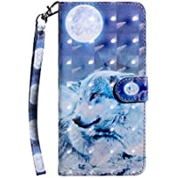 Huawei P Smart 2019 Case,Shockproof PU Leather Flip Cover Notebook Wallet Case with Magnetic Closure Stand Card Holder ID Slot Folio Soft TPU Bumper Protective Skin,Wolf & moon