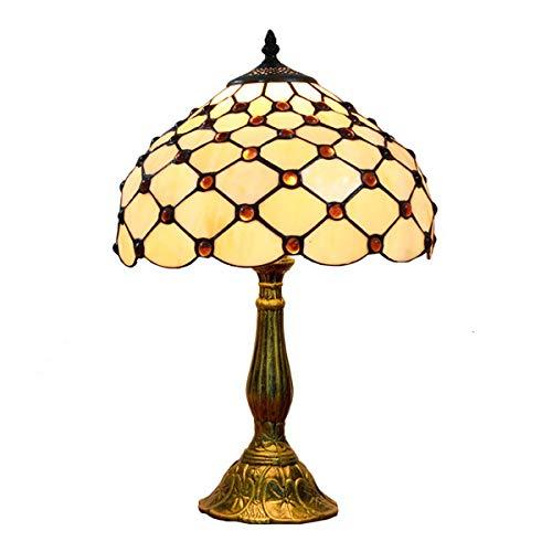 Schneiden Fischnetz (LMJ-CTlight Tiffany Tischlampe Glasmalerei und Crystal Bead Fischnetz Form Lampenschirm, 12-Zoll-Couchtisch Wohnzimmer antike Base Schreibtisch Schlafzimmer.)