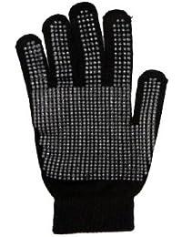 12 pairs x Kids Winter Warm Magic Gripper Grip Gloves Colour:Black Only Size:One Size (8-13 years) (Children, Girl, Boy)