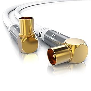 CSL - 2m Antennenkabel HDTV 135dB / 75 Ohm 90° gewinkelt | Premium Koaxialkabel | FullHD / 4k UHD | Koax Stecker 90° > Koax Kupplung 90° | DVB-T und DVB-T2 / DVB-C / DVB-S / DVB-S2 / Radio UKW / DAB / DAB+ | Abschirmmaß 135dB | hochdichte Schirmung | weiß